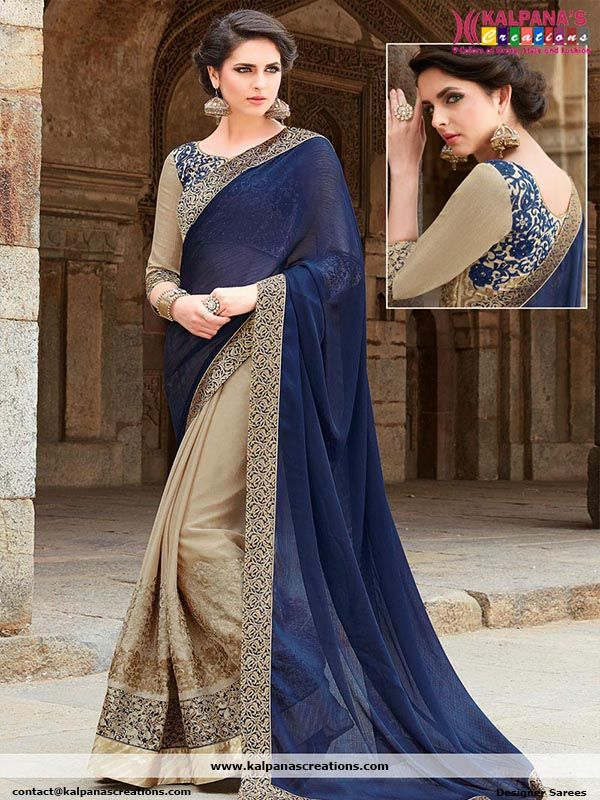 Blue Georgette Half N Half Wedding Reception Designer Saree Party Wear Sarees Saree Designs Bridal Lehenga Choli