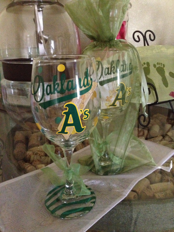 c3e22c2121f0 Oakland A s Baseball Wine Glass by SimplySaidStudio on Etsy