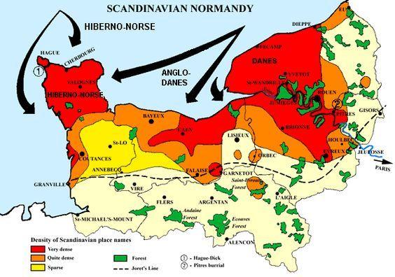 The Vikings In Normandy Density Of Scandinavian Place Names Genealogi Viking