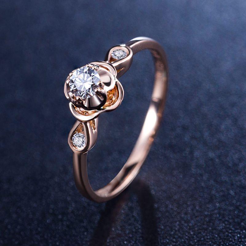 6353deffce3e Женские бриллиантовое обручальное кольцо 18 К розовое золото 0.1 0.03ct  натуральный украшения с бриллиантами ручной работы обручальное гравировка