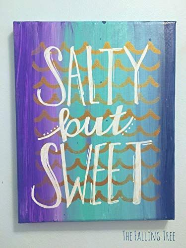 New Ocean & Mermaid Themed Little Girl's Bedroom Nursery Canvas Painting Sweet Salty Hand Painted Lettered The Falling Tree online shopping - Mimafashionstylish