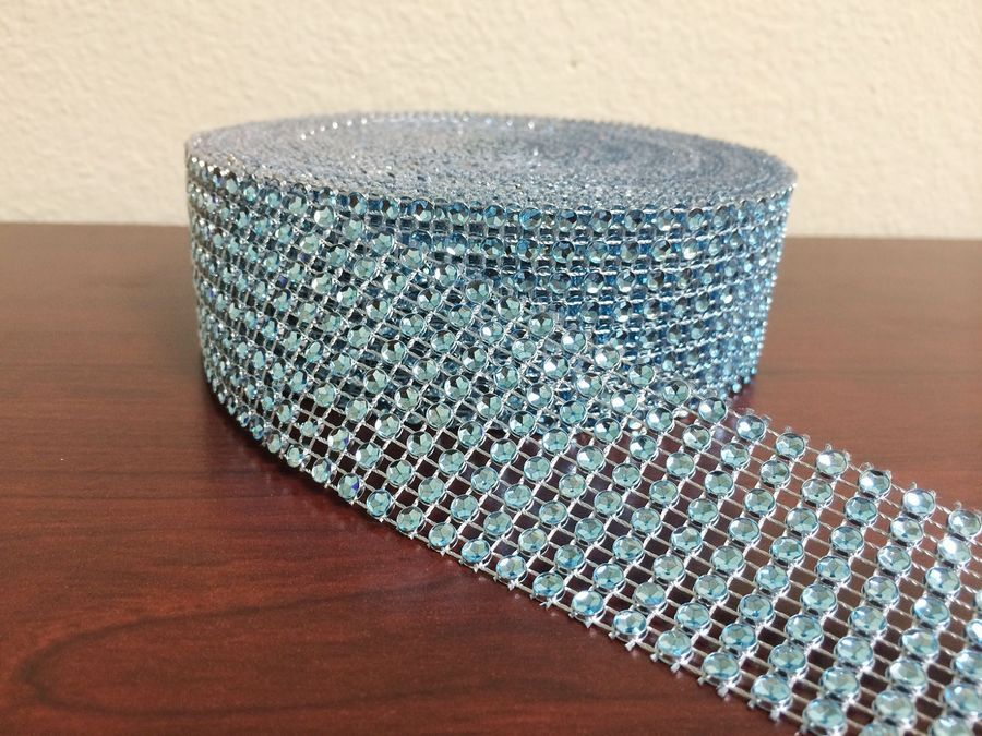 10Yards 8Rows DIAMOND MESH WRAP ROLL SPARKLE RHINESTONE Crystal Ribbon Wedd *DC