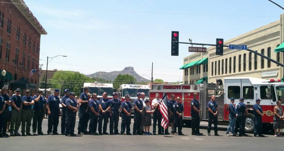 Procession of Hot Shots Vehicles.  The fallen firefighters' vehicles are currently being transported from the scene of the YarnellFire to Station 7 in Prescott.