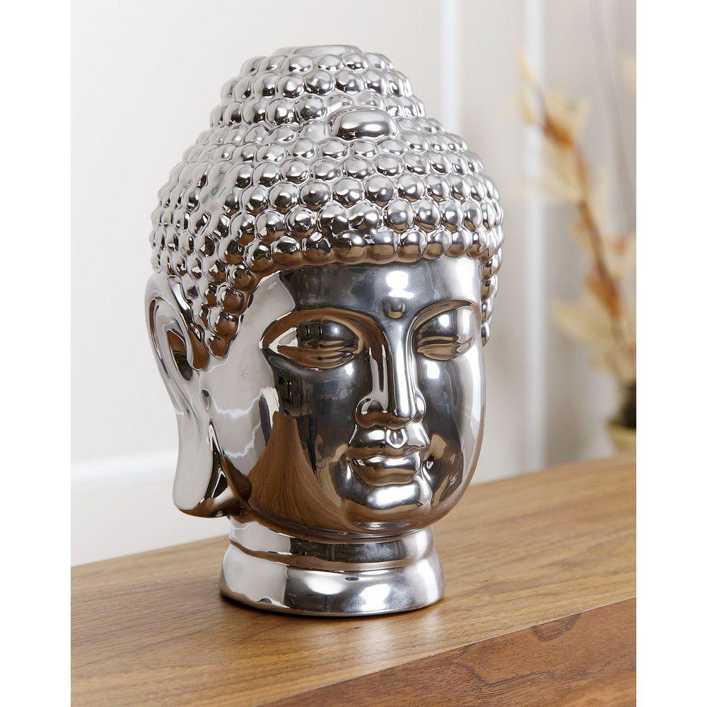 Buddha Head Decor Abbyson Living Silver Chromed Ceramic Buddha Head Overstock
