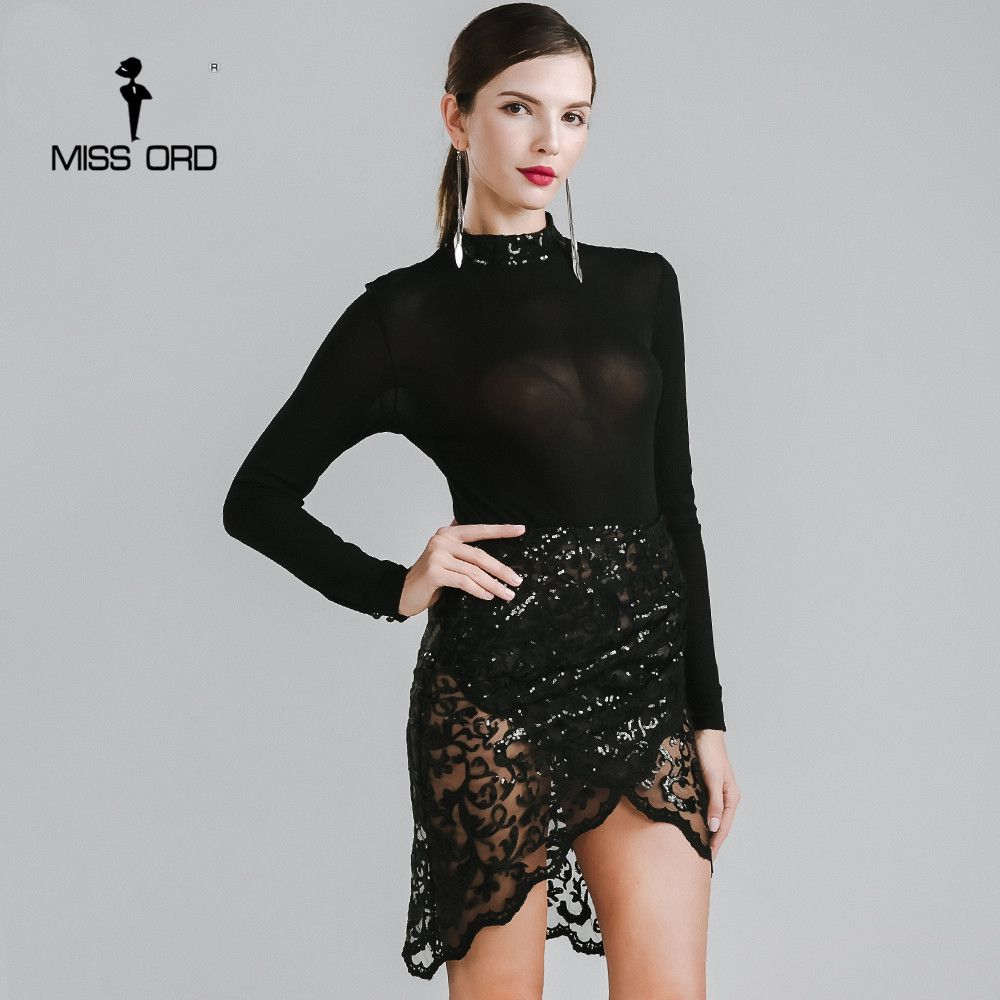 Missord sexy oneck long sleeve sequin split dress ft