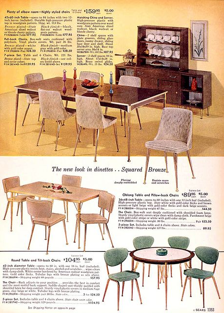 Sears 1960 Fall Catalog Dining Retro Rooms Room Furniture Ads Metal