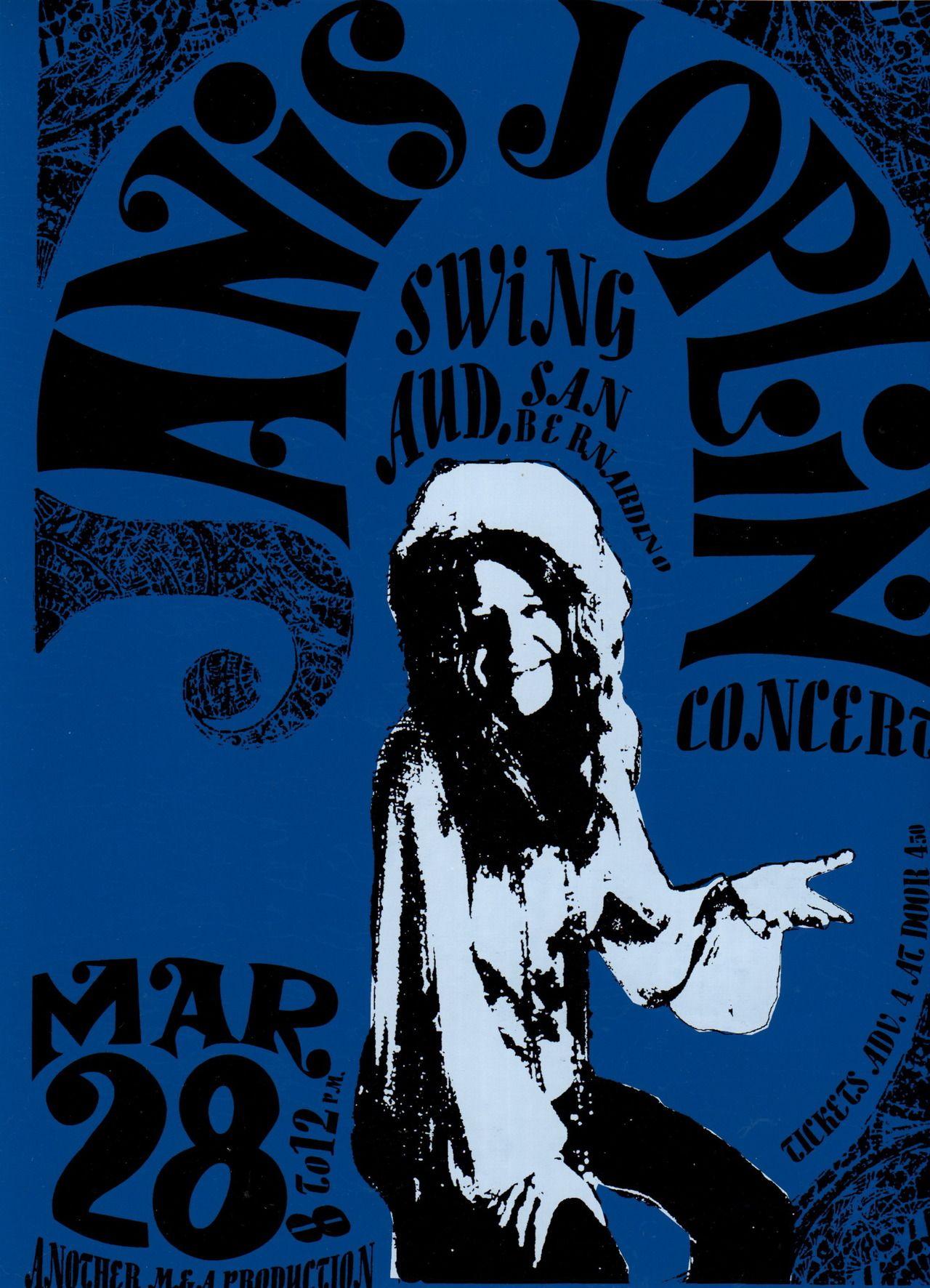 American Hippie 1968 Janis Joplin Concert Poster Classic Rock Music