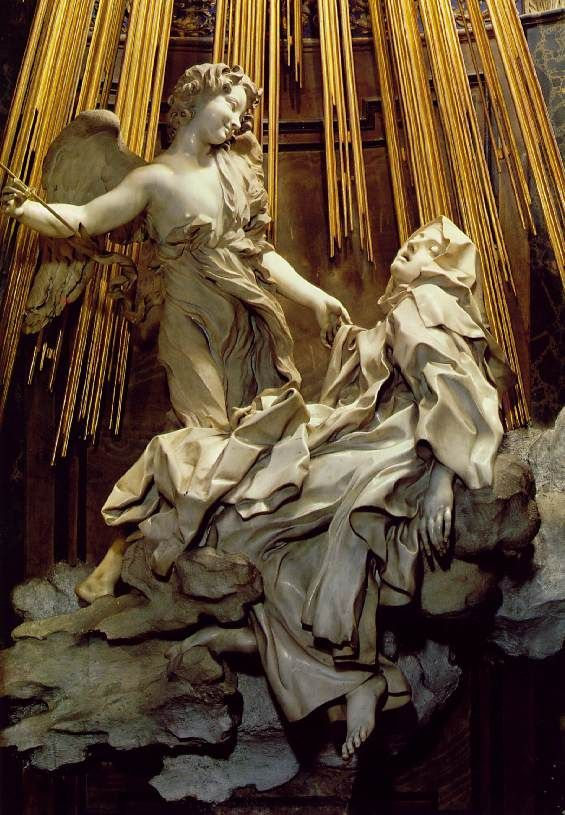 The Ecstasy of Saint Teresa is the central sculptural group in white marble set in an elevated aedicule in the Cornaro Chapel, Santa Maria della Vittoria, Rome. Description from sjatabletalk.typepad.com. I searched for this on bing.com/images