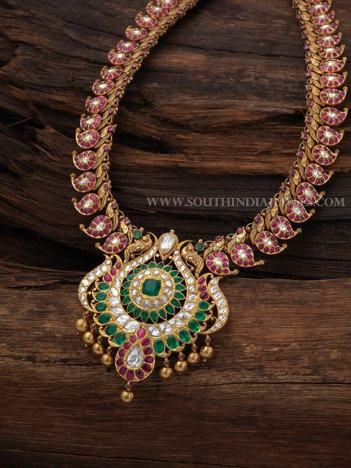 and designer stri ruby finish griiham collection necklace antique earring peacock emerald set of copy sets motif products matt