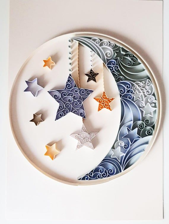 Moon And Stars Quilled Nursery Wall Art New Baby Gift Etsy Paper Quilling Jewelry Paper Quilling Cards Quilling Paper Craft