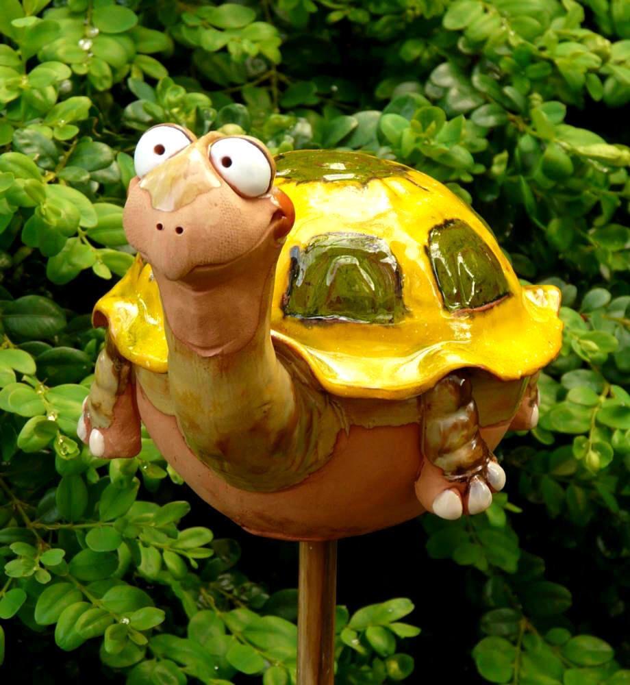 Gartenstecker Gartenkugel Beetstecker Schildkrote Keramik Handarbeit Garten Terrasse Dekoration Gartenfiguren Tonskulpturen Topferhandwerk Topferarbeiten