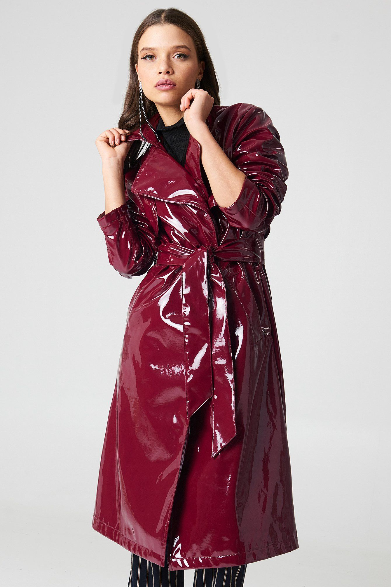 Patent Long Jacket Raincoats for women, Fashion, Red