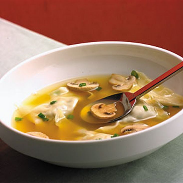 Chinese Chicken Dumpling Soup Recipe Soups with cooked chicken breasts, chopped fresh cilantro, hoisin sauce, won ton wrappers, fat free less sodium chicken broth, low sodium soy sauce, sliced mushrooms, sliced green onions