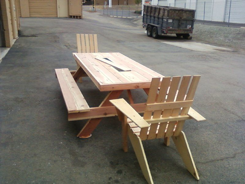 6ft Douglas Fir, Oversized, Wrapped Picnic Table With 3ft Galvanized Ice  Trough With Lid