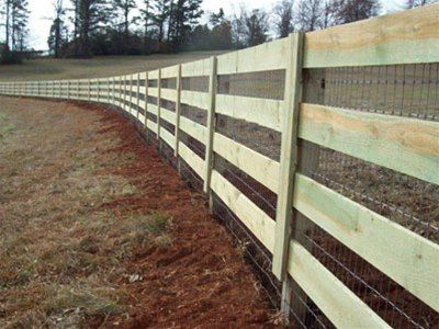 Four Board Corral Fence With Welded Wire Mesh Attached Fence Farm Fence Backyard Fences Horse Fencing