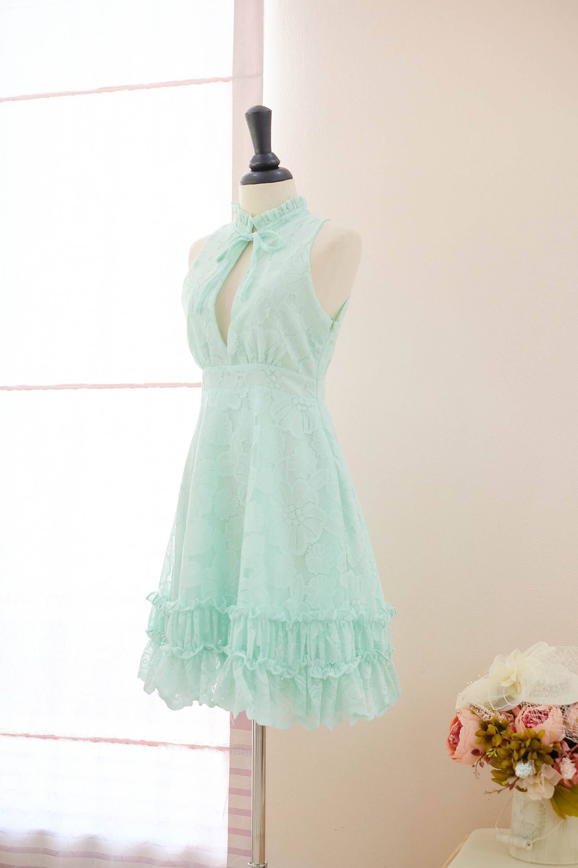 Green bridesmaid dress mint lace dress prom dress vintage prom party ...
