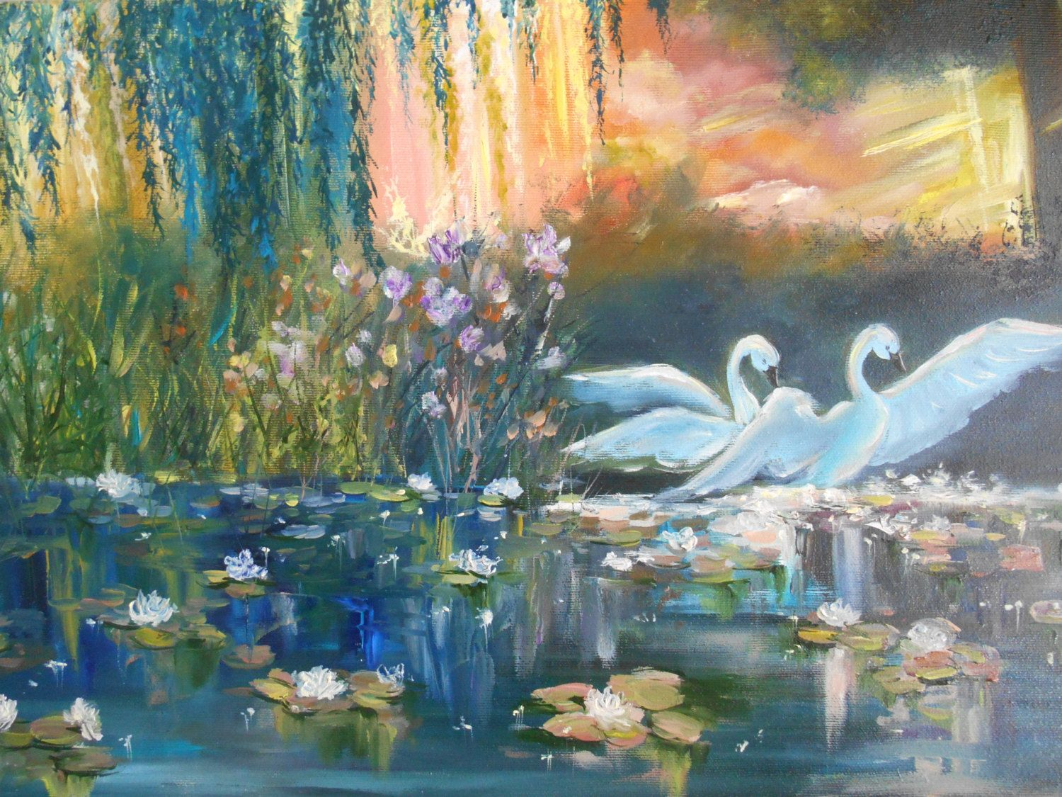Oil Painting Large Canvas Swan Wall Art Romantic Landscape Fairy Lake With Lilies