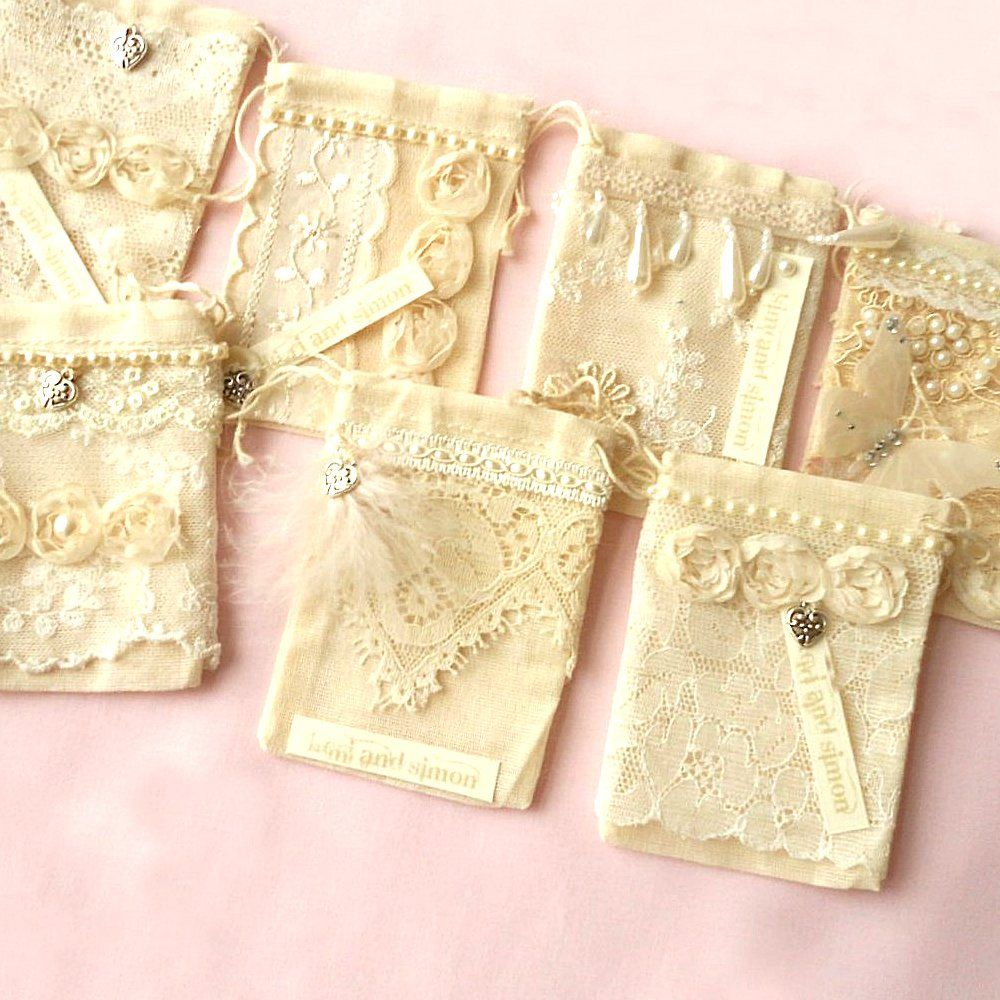 Shabby Chic Wedding Favor Muslin Drawstring Bag. $3.99