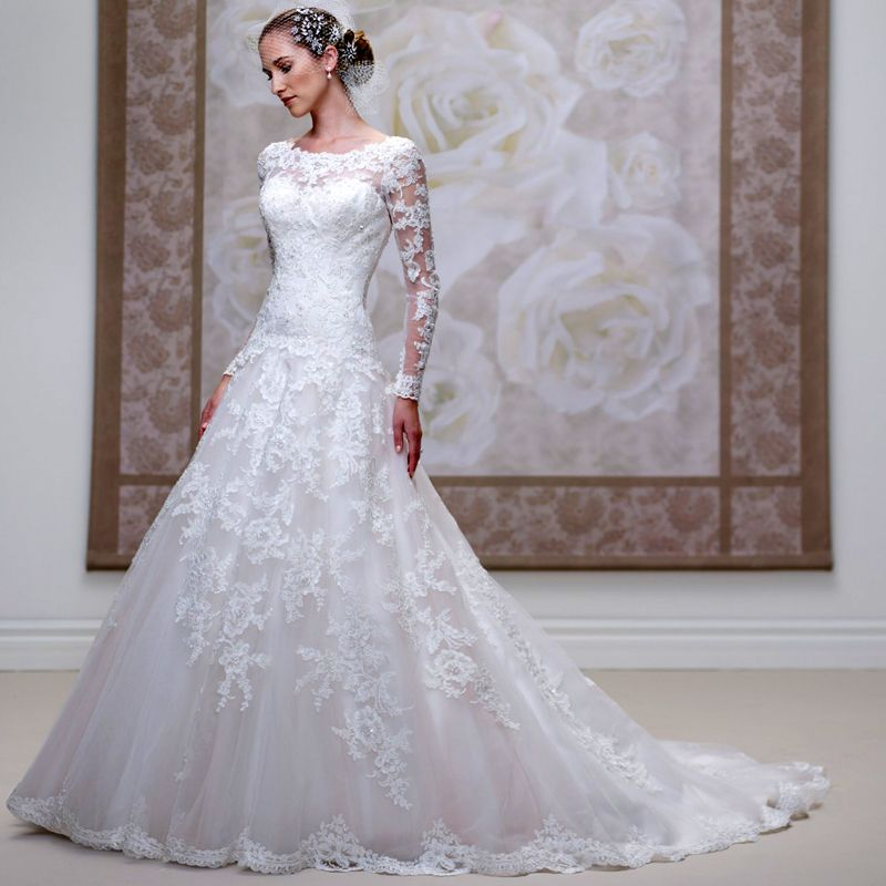 Wedding Gowns Quality Lace Dress 2016 Directly From China Suppliers New Arrival Muslim Long Sleeve