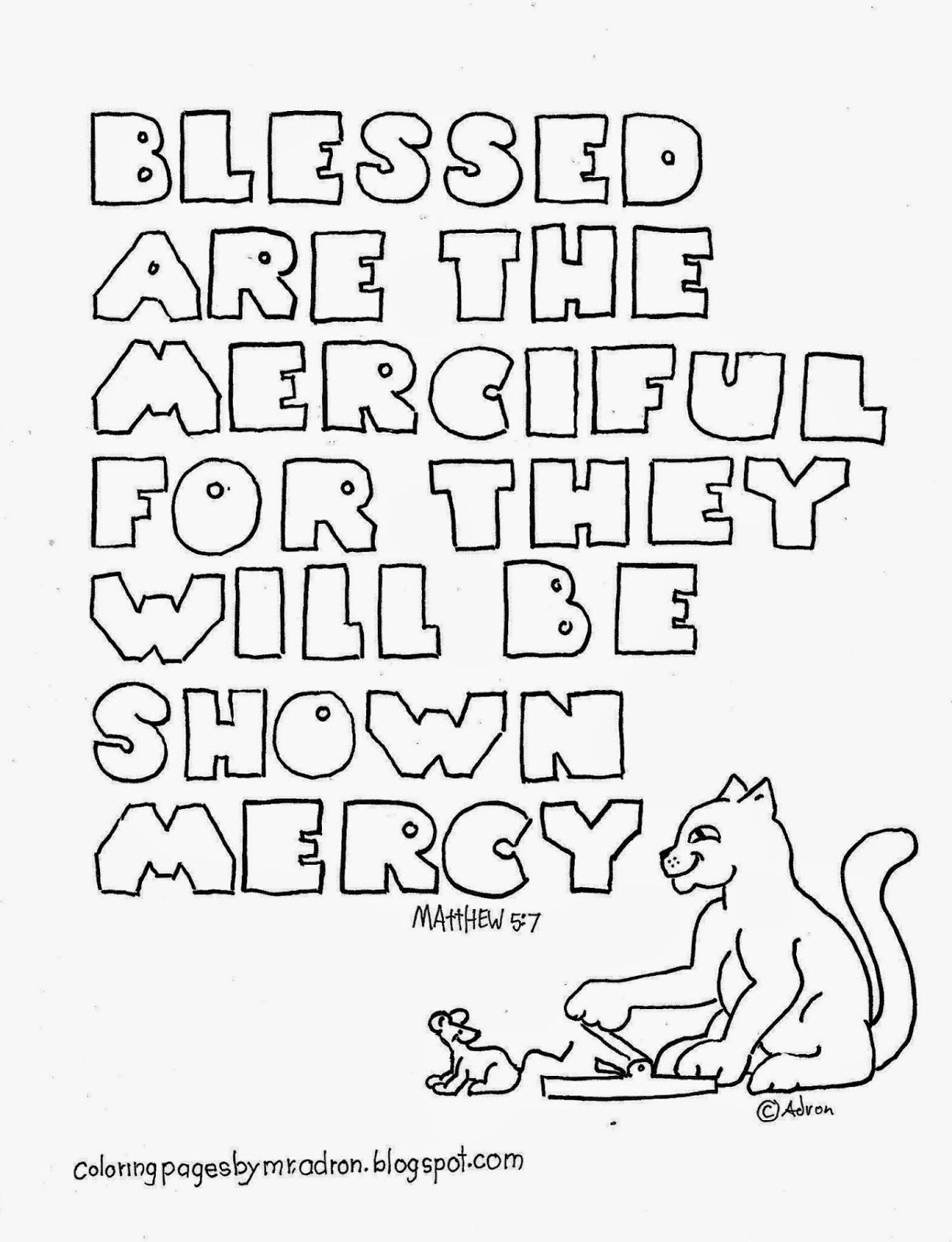 Blessed Are The Merciful Coloring Page Matthew 5 7 Free