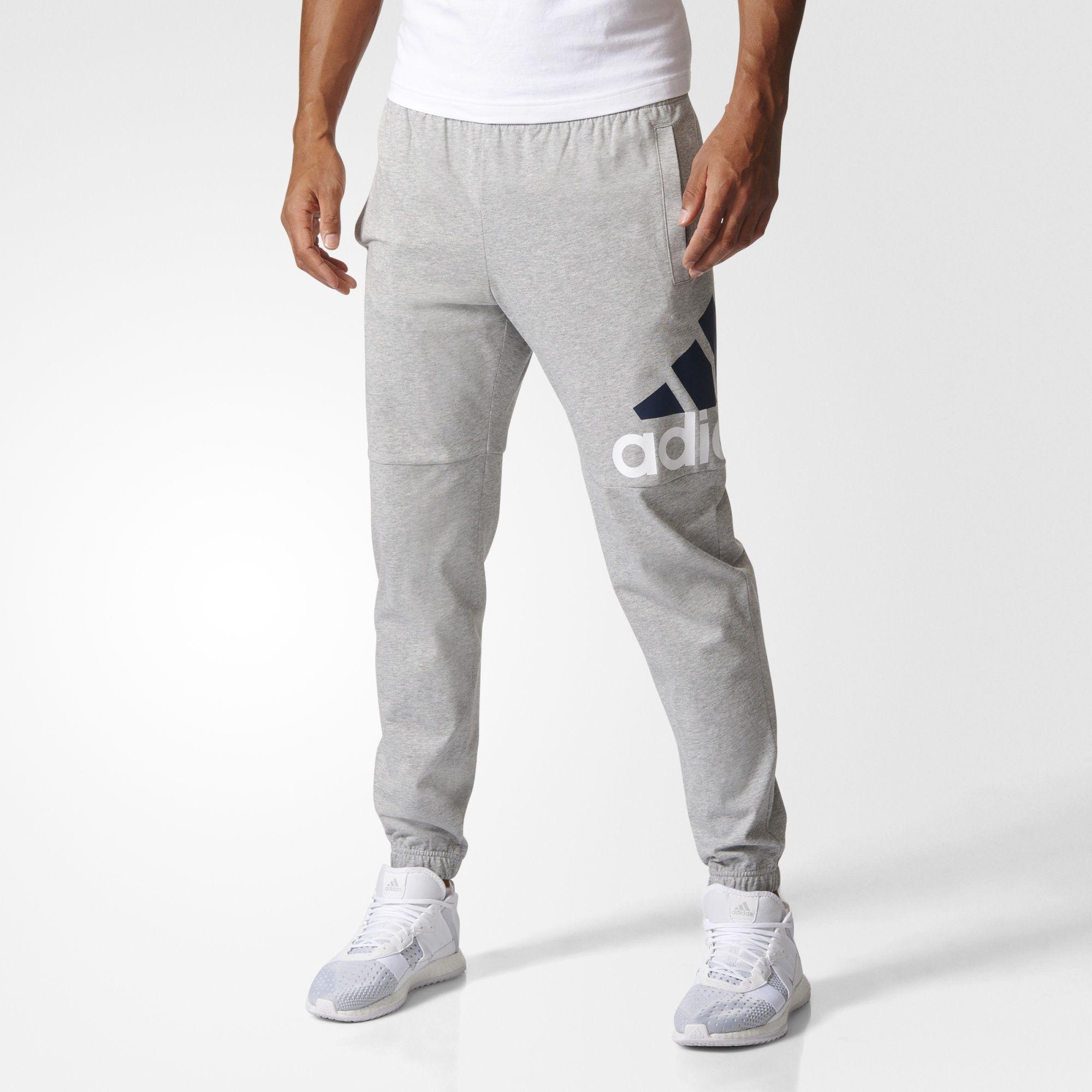 Essentials Performance Logo Pants Grey Mens | Adidas men