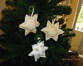 Gold fabric star tree decorations
