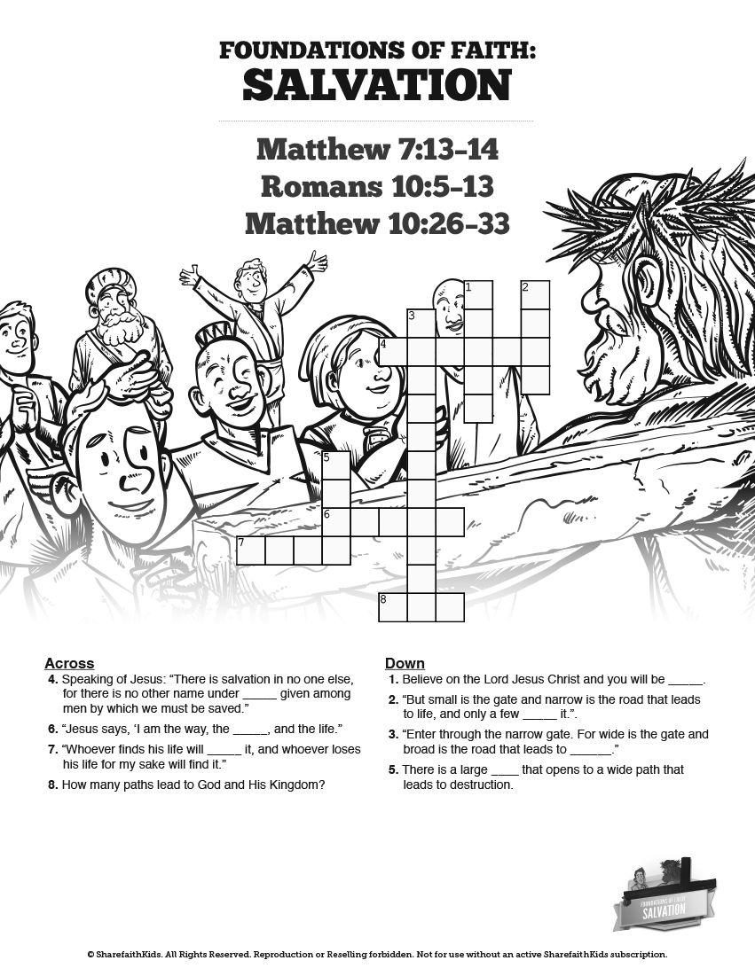 Matthew 7 Plan of Salvation Sunday School Crossword Puzzles: An ...