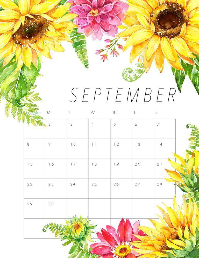 FREE PRINTABLE 2019 FLORAL CALENDAR 2019 Calendar Calendar, 2019