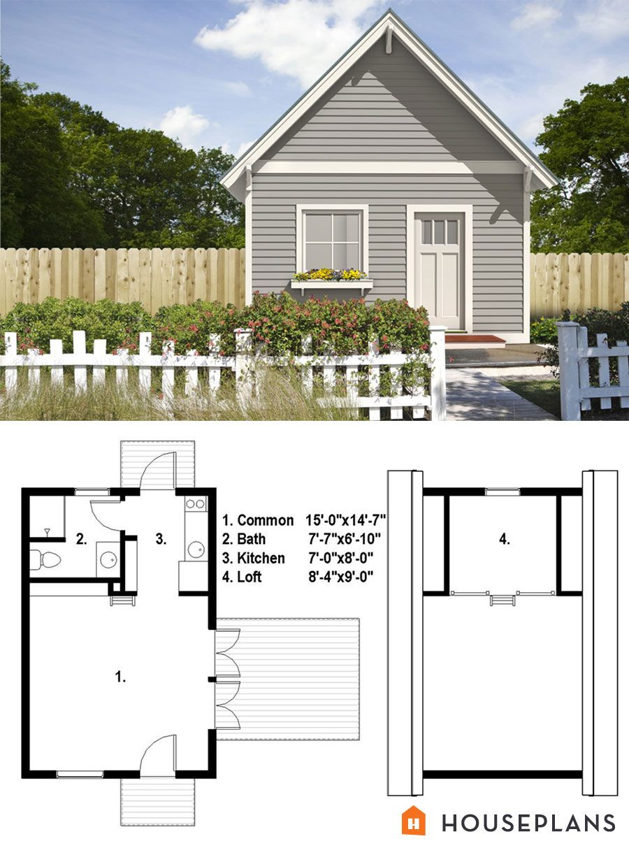 Cottage Style House Plan 1 Beds 100 Baths 525 SqFt Plan 497 52