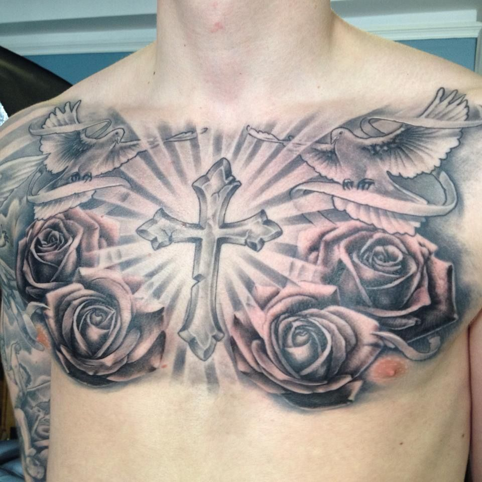 Religious tattoo chest piece black and grey roses and for Black and grey chest tattoos