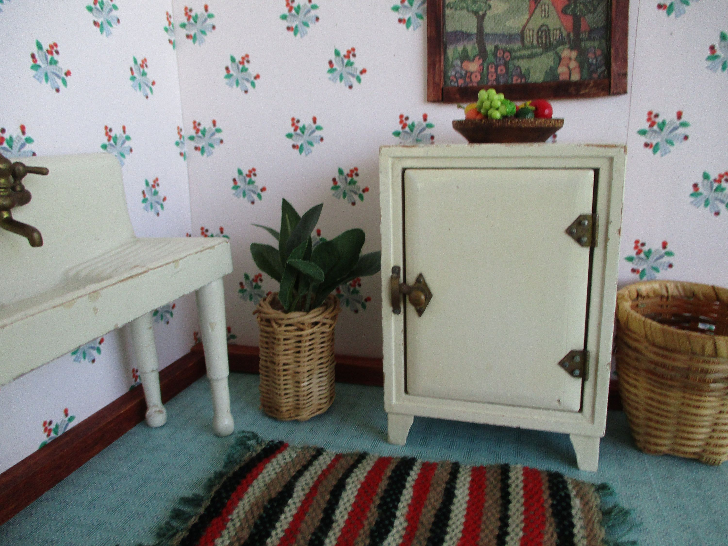 Vintage Dollhouse Furniture - Wooden Kitchen Refrigerator in Off- White Enamel -Brass Fixtures - Large 1:12 - Made in Japan - ca. 1920s