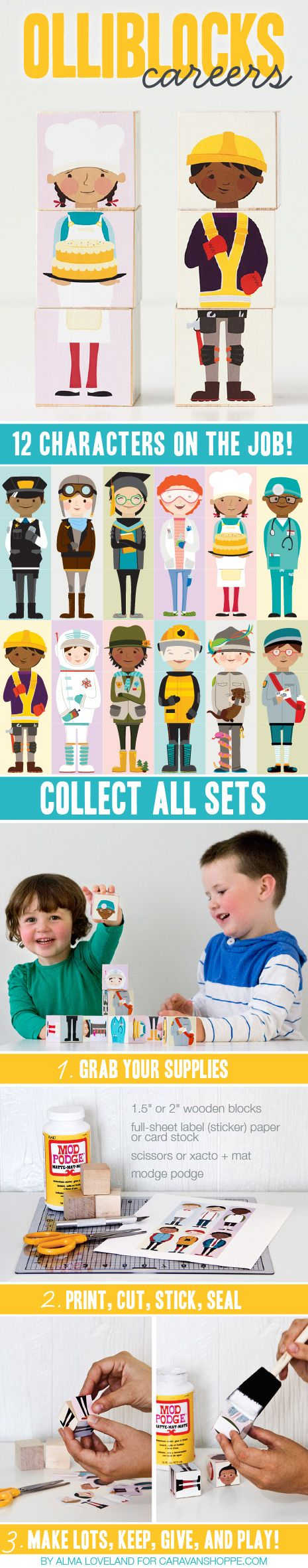 Printable characters for wooden blocks! Download once, print as many as you like! Great for making gifts.