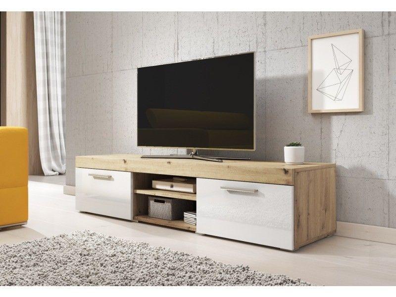 E Com Meuble Tv Paris 140 Cm Artisan Chene Et Blanc Brillant Tvu 8c201 140 Apowhg Vente De Meuble Tv Confor En 2020 Meuble Tv Meuble Tv Conforama Meuble Tv Bas