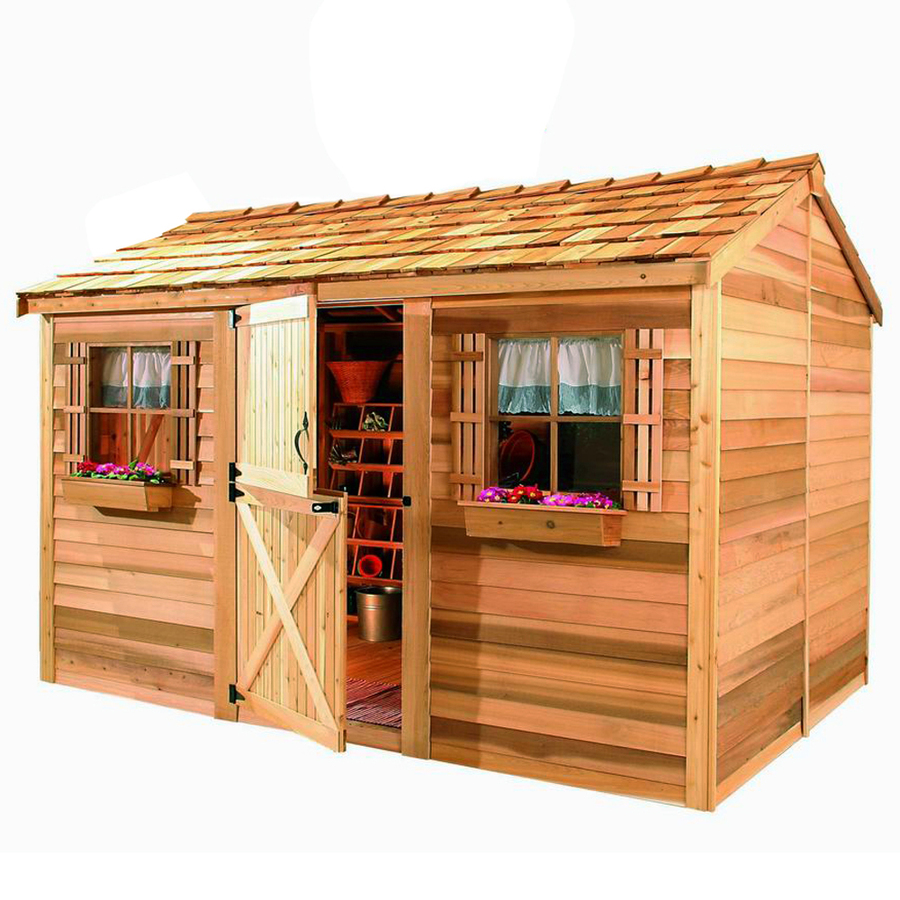 Cedarshed Common 10 Ft X 8 Ft Interior Dimensions 9 62 Ft X 7 33 Ft Cabana Gable Cedar Wood Storage Shed Lowes Com Diy Shed Plans Building A Shed Cedar Shed