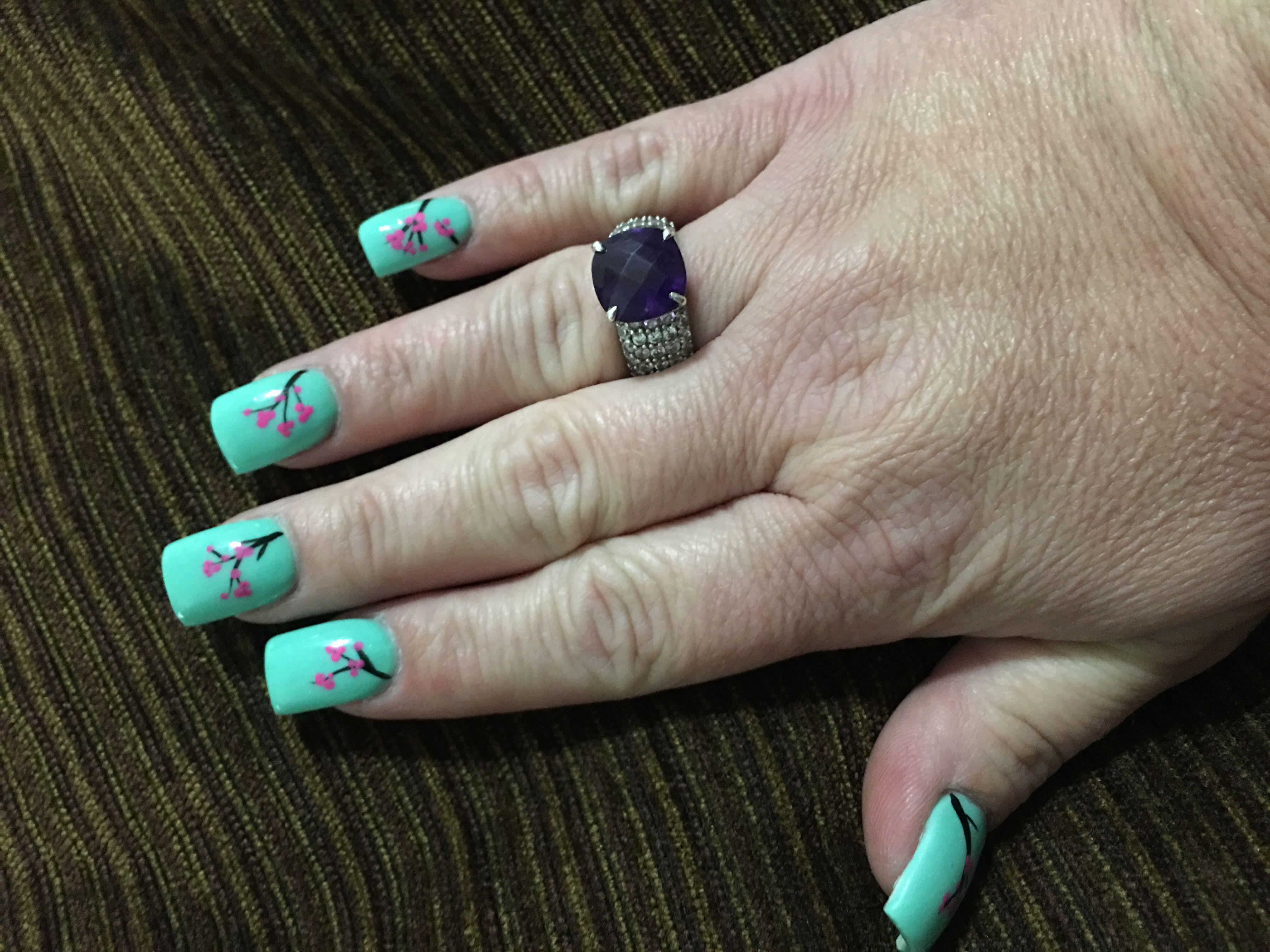 Cherry Blossom nails by Khang at New Georgia Nails in Dallas, GA ...