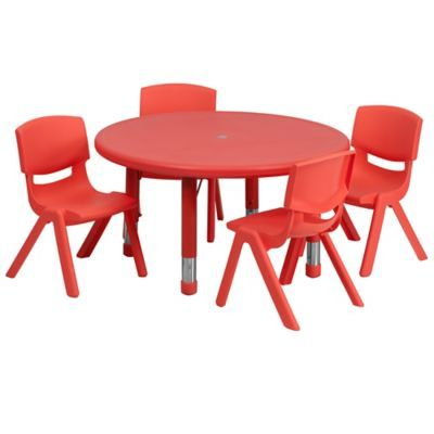 Magnificent Flash Furniture 33 Round Activity Table With 4 Stackable Camellatalisay Diy Chair Ideas Camellatalisaycom