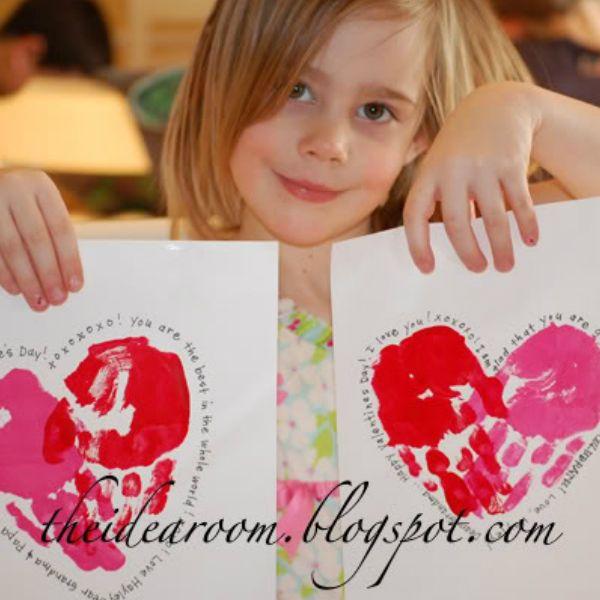 Handprint Valentines  Grandparents Cards and Craft