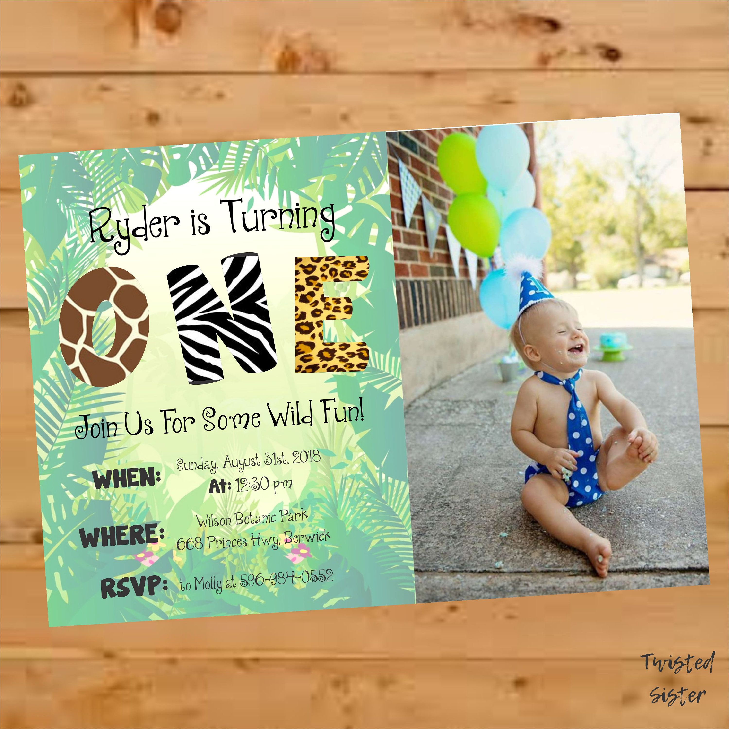 Jungle Themed Birthday Invite Invitation First Bday Photo