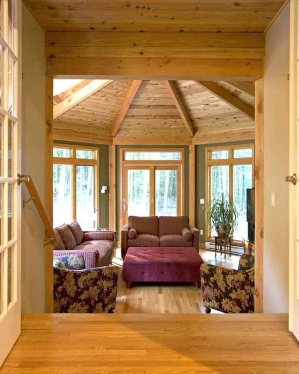 This Large Octagonal Sunroom In Devonwood Ct Is A Getaway At Home I Love The Wood And The Windows Interior Design Octagon House House Interior Decorate octagon shaped living room