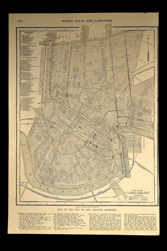 New Orleans Map New Orleans Street Map 1908 Original Map wall