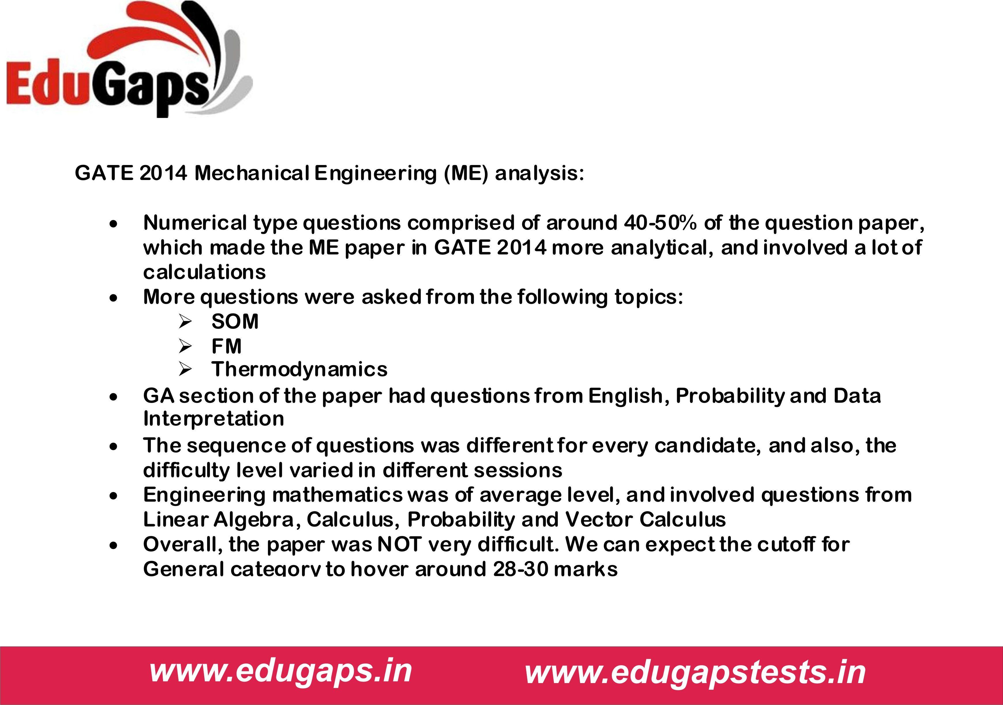 Gate 2014 Mechanical Engineering Me Analysis Gate2015 Ies2014
