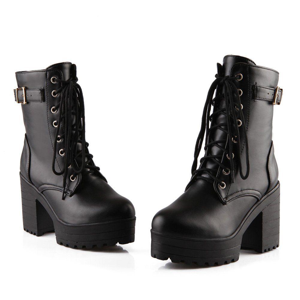 e5cdf9272cb0a Lucksender Womens Lace Up Platform Combat Chunky Heel Martin Boots ...