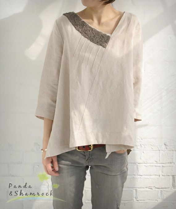 Nature Women Blouse Top Loose Custom Made Linen Fashion Linen Clothes Sewing Clothes