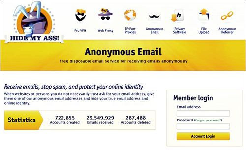 send an anonymous email