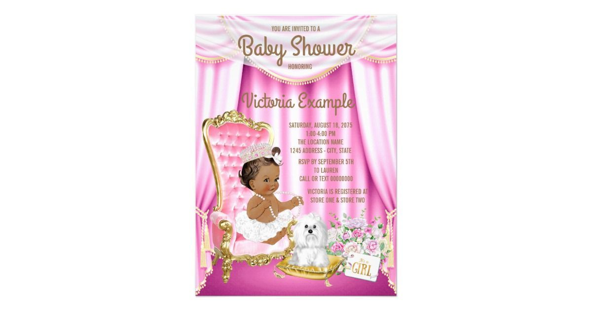 African American princess baby shower invitation with a cute ethnic ...