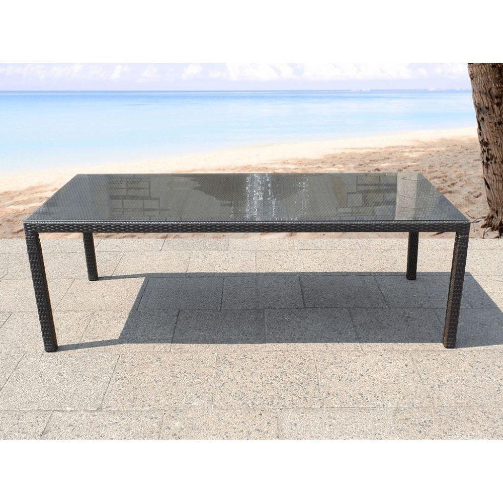 Rattan Outdoor Dining Table Rectangular Dark Brown Glass Top