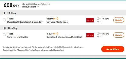 billigflug mit iberia von Duesseldorf nach Montevideo im November 2015