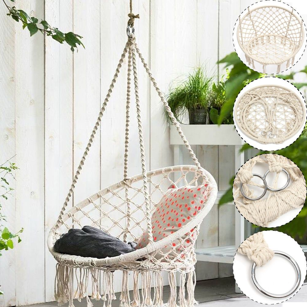 Beige hanging cotton rope macrame hammock chairs swing outdoor home