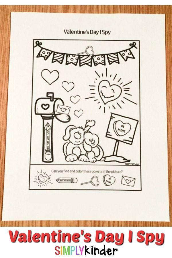 Valentines Day I Spy Printable Worksheet  Spy Worksheets and