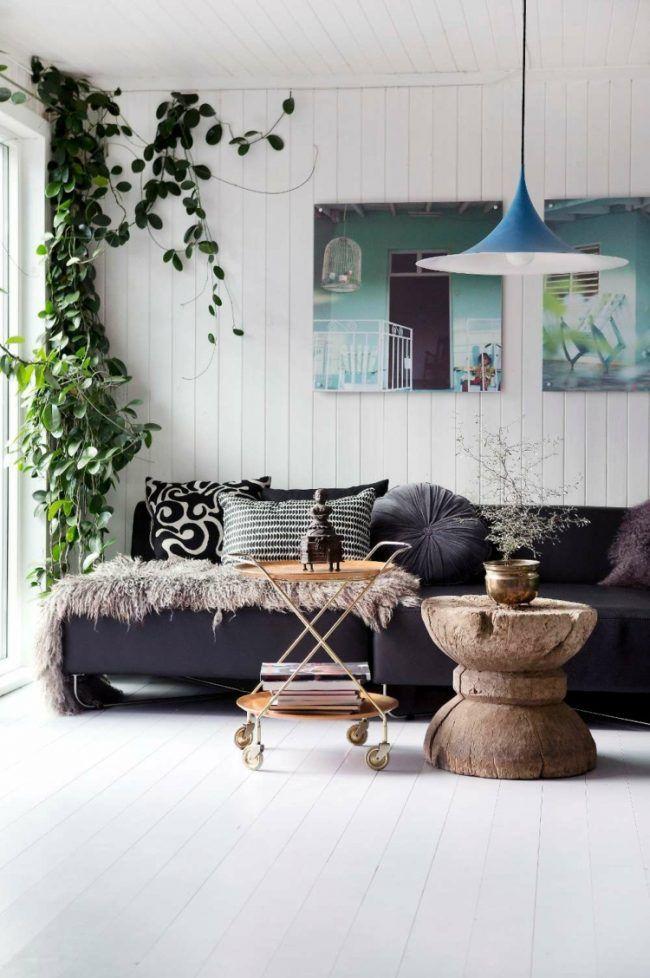 immergrüne kletterpflanzen deko-ideen-wohnzimmer-weiss-wand - wohnzimmer deko weis